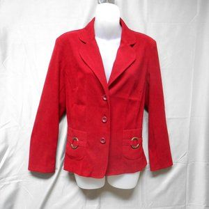 Notations red button blazer petite large